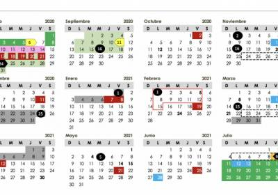 Calendario escolar, puentes y vacaciones 2020-2021