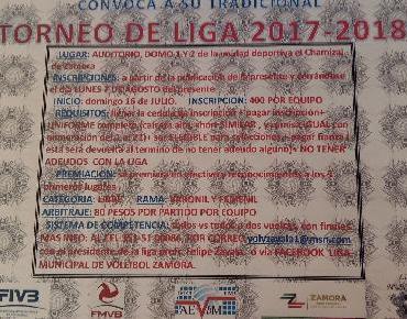 Convocan al Torneo de Liga de Voleibol Municipal 2017 - 2018 en Zamora