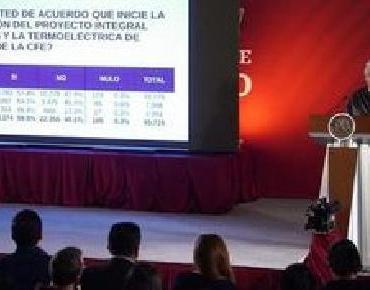 59.5% de habitantes aprueban puesta en marcha de termoeléctrica en Huexca, anuncia presidente López Obrador: 'Eso es mandar obedeciendo'