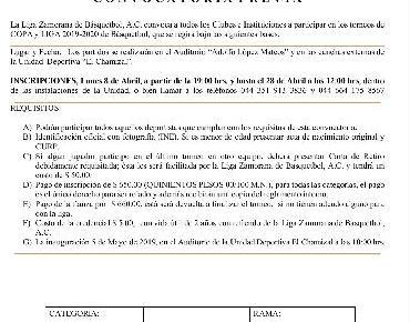Convocatoria Liga Zamorana de Basquetbol 2019-2020