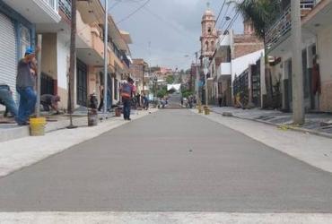 Al 70%, modernización de calle Tepeyac en Sahuayo
